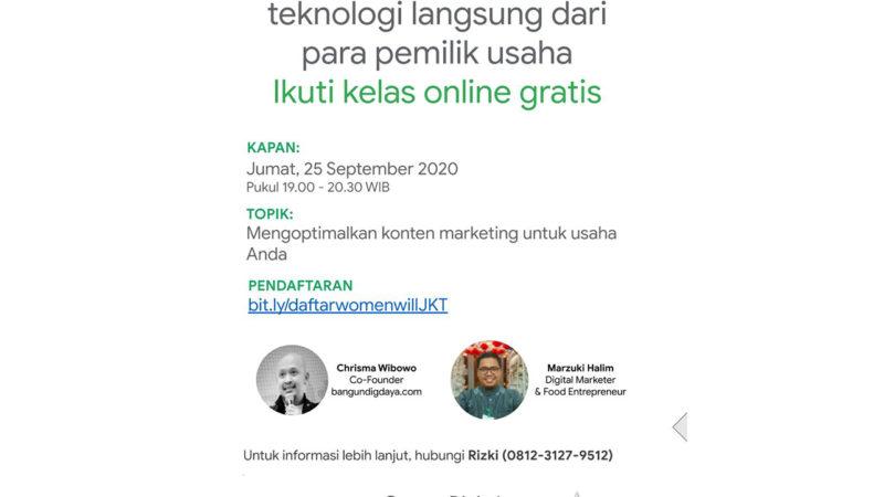 Grow With Google, 25 September 2020, Mengoptimalkan Konten Marketing Untuk Usaha Anda