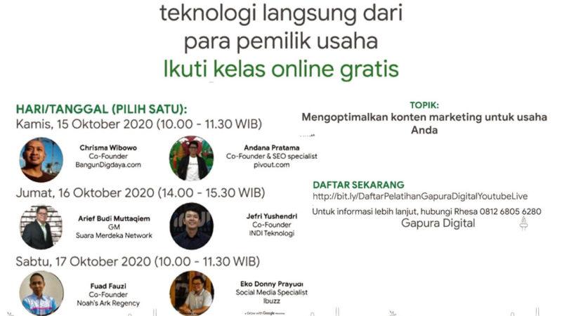 Gapura Digital, 15 Oktober 2020, Mengoptimalkan Konten Marketing Untuk Usaha Anda