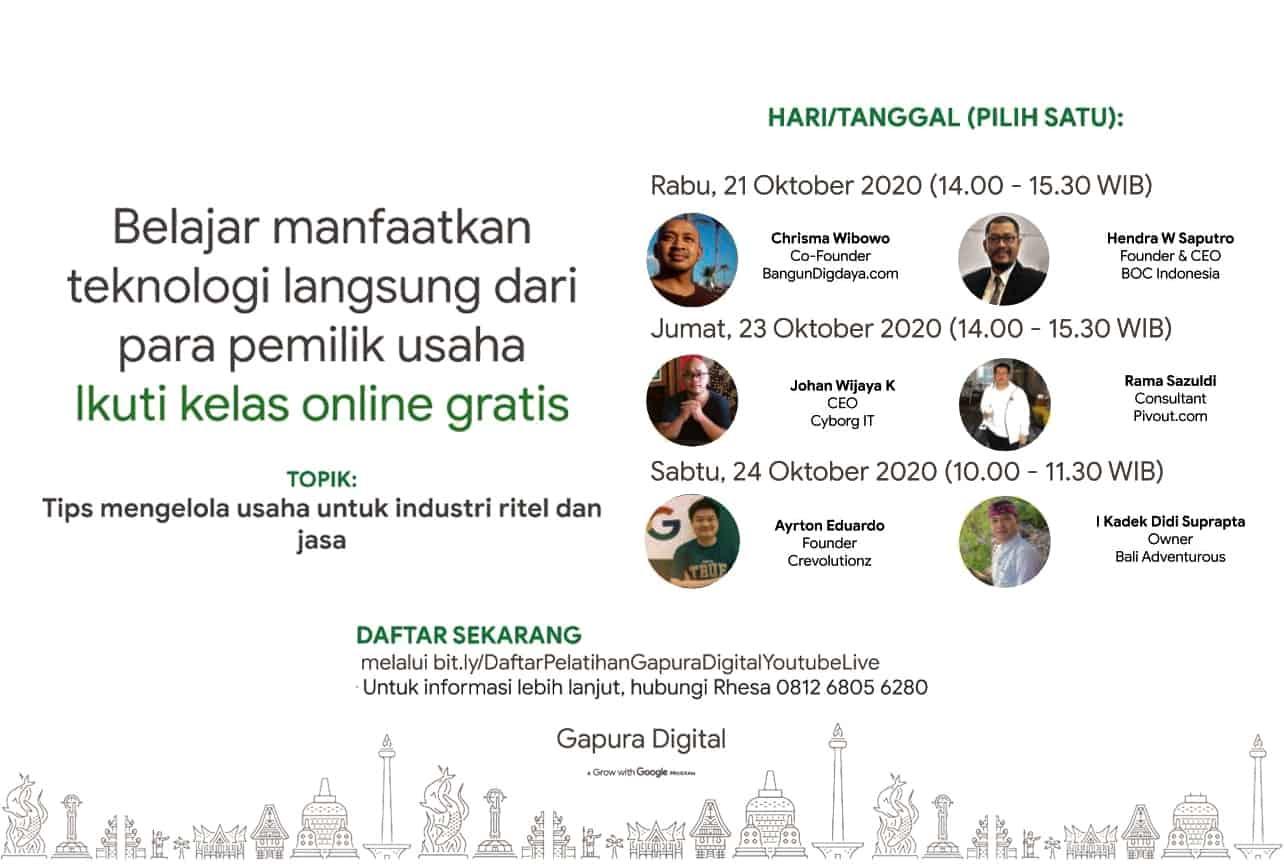 Gapura Digital, 21 Oktober 2020, Tips Mengelola Usaha Untuk Industri Ritel dan Jasa